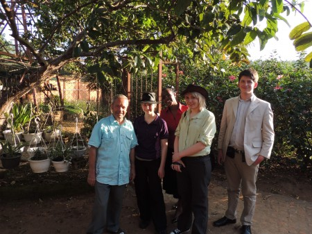 The team with Rwanda's orchid expert Father Jean-Paul Lebel.