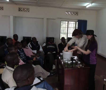 Zoe and Zoe de-flasking Writhlington seedlings at Katabi College Rwanda