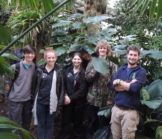 Some of the Writhlington Team with Glasshouse Supervisor Alex Summers in The Cambridge glasshouses