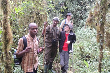 James and Tom in the Swamp forest with our guide Chris and Emanuel from KCCEM
